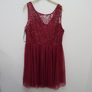 Forever 21 Burgundy Floral Lace Layered Dress